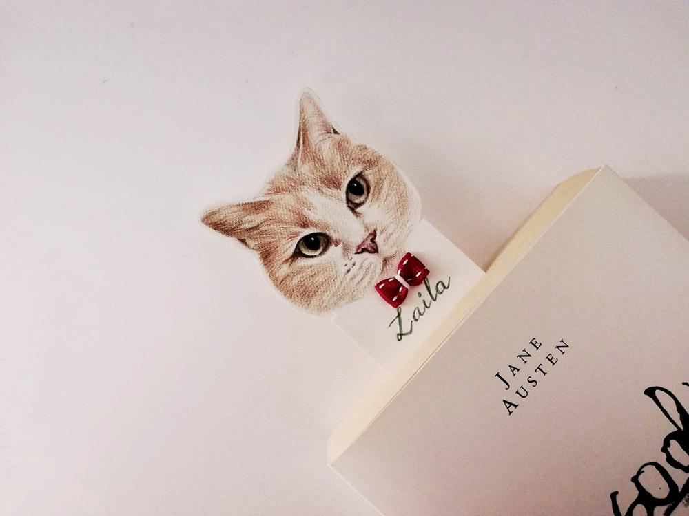 segnalibro ritratto animale gatto