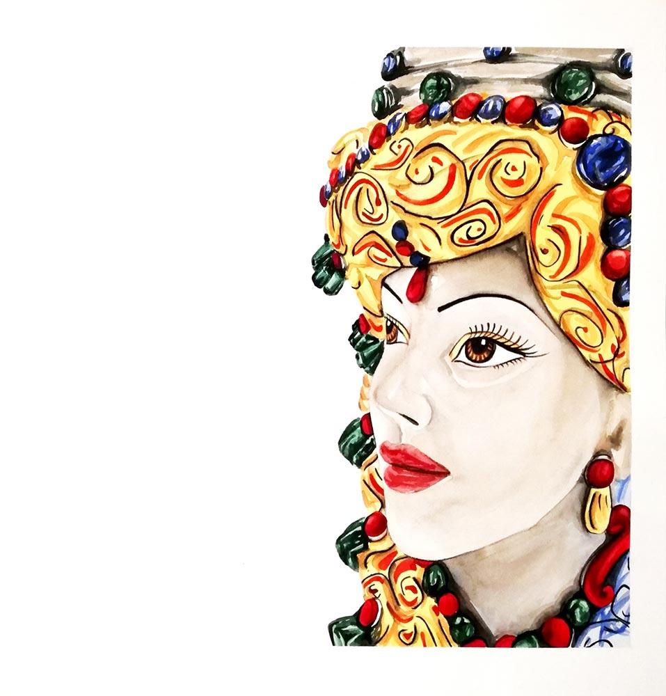 TESTA DI MORO SICILIANA – acquerello su carta arches – 30x30cm